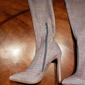 d46f579c93f Forever 21 Shoes - Forever 21 gray glen plaid thigh high boots